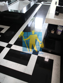 absolute black granite slab floor with white quartzite bands melbourne