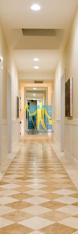 marble tiles in hallway with traditional design pattern different colors