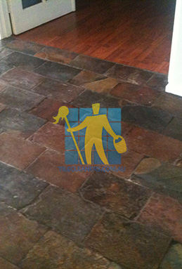dirty and dull looking slate tiles requires stripping and sealing melbourne cleaning