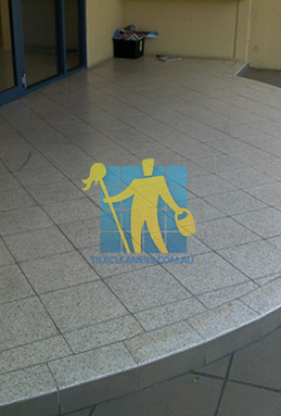 terrazzo tiles outdoor floor entrance curved dirty before cleaning melbourne