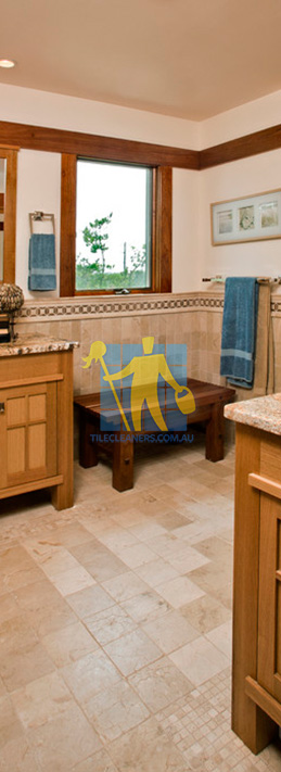 travertine tiles floor bathroom tumbled with mosaic corner wooden cabinets melbourne